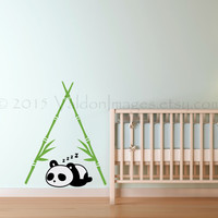 Nighty night panda wall decal, nursery wall decal, kids wall decal, tree wall decal, panda wall sticker, bamboo wall decal, panda wall art