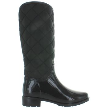 Kixters Badger - Shiny Black Rubber/Quilted Nylon Tall Rain Boot