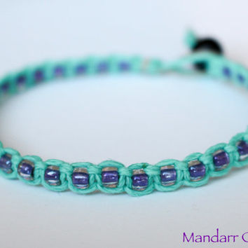 Clearance Sale - Teal Hemp Bracelet with Purple Seed Beads, Beaded Macrame Jewelry, Gift for Her