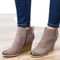 Unique Laced Back Wedges- Dark Taupe
