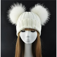 Real Fur Ball Women Pom Pom Beanie