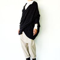 NO.104 Black Knitted Cross Front Sweater