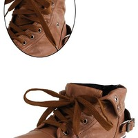 Punk Folded High Top Leather Sneakers TAN