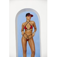 Red Extreme Micro Strappy High Neck & G-String Thong Set