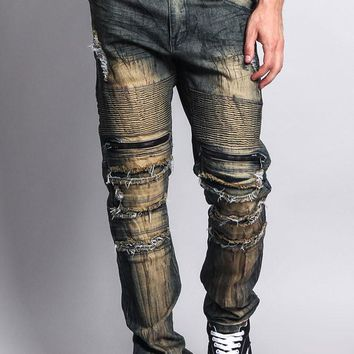 Zipper Cut Grease Wash Biker Jeans