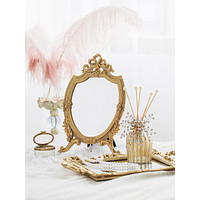 Light Luxury Palace Style Retro French Rococo Style Gilt Hollow Bow Embossed Makeup Mirror Vanity Mirror Ornaments