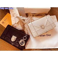 DIOR selling fashionable pure color patent-leather lady casual shopping shoulder bag