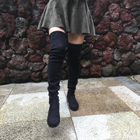 Womens Faux Suede Over the Knee Flat Boots Comfortable Slouchy Thigh High Boots Black Gray Wine Red Nude 2017 Hot Quality