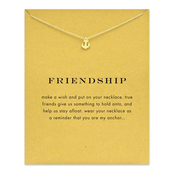 Sparkling Friendship Anchor Gold Plated Pendant Necklace