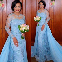 Sparkly High Quality Prom Dress 2017 Fashion Baby Blue Appliques Mermaid Prom Dress O Neck Long Sleeve Prom Dresses