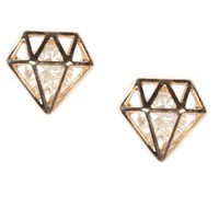 Stud Earrings with Caged Diamond Shape and Stone Center