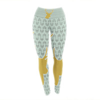 "Pellerina Design ""Golden Deer"" Yellow Green Yoga Leggings"