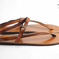Ancient Greek Roma Sandals Genuine Leather Buffalo Leather Shoes Flip Flops Slippers Vintage Women Handmade