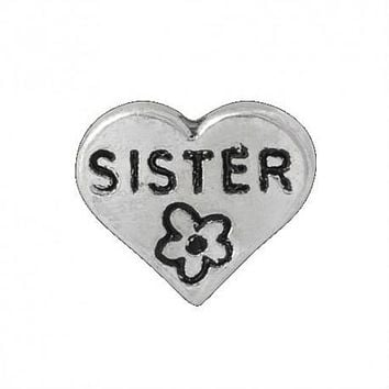 Floating Flower Sisters Heart Charm Compatible With Origami Owl Lockets