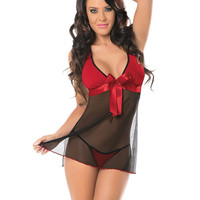 Sexy Sheer Babydoll & Panty Black-red O-s