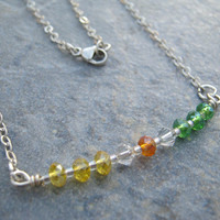 Sterling Silver Color Block Bar Necklace, Orange Yellow Green Fire Polished Czech Crystal Necklace, Spring Necklace, Choose Length, CBBN1