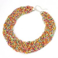 Fashion Gold Tone Chain Water Drop Olivary Colorful Resin Beads Pendant Bib Necklace