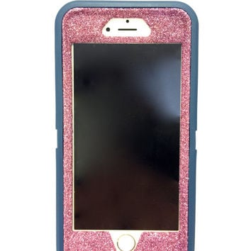 iPhone 6 (4.7 inch) OtterBox Defender Series Case Glitter Cute Sparkly Bling Defender Series Custom Case  Deep water blue / pink