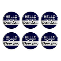 Damian Hello My Name Is Plastic Resin Button Set of 6