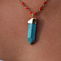 Turquoise Faceted Stone Pendant Necklace
