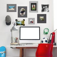 5 Black & White Photo Frames, 2 Photo Corner Wall Decals