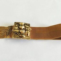 Signed Vargas Victorian Revival Mesh Garter Bracelet with Three Dimensional Clasp and Elegant Fringe Detail, Organic Leaf and Thistle Design
