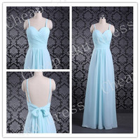 Fashion Style Spaghetti Chiffon Bow Backless Bridesmaid Dresses Party Dresses Evening Dresses Prom Dresses Formal Dresses 2014