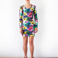 Poppies Long Sleeve Fitted Tshirt Dress
