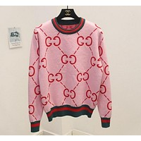 GUCCI Fashion Women Leisure GG Letter Print Round Collar Brief Paragraph Pullover Top Sweater Sweatshirt Pink