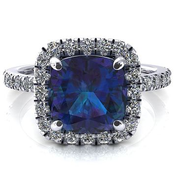Talia Cushion Alexandrite 4 Prong Halo 5/8 Micropave Engagement Ring