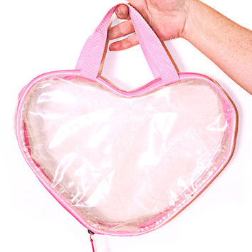 Vintage 90s Clear Pink Heart Purse Transparent See Thru See Through