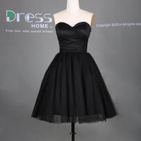 Simple Black Sweetheart Neckline Ball Gown Short Homecoming Dress/Little Black Dress/Sexy Wedding Party Dress/Bridesmaid Dress DH285