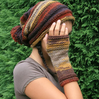 Long Fingerless Gloves Striped in Autumn Colors - Soft Knit Mittens - Women and Teens Accessories - Fall and Winter Fashion
