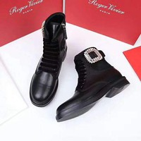Roger Vivier High Quality Fashion Women Leather Diamond Martin Boots