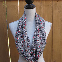Infinity scarf, tube scarf, eternity scarf, loop scarf, long scarf in a black polyester print