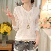 Fashion Cute Stretch V-Neck Long Sleeve Lace Tops