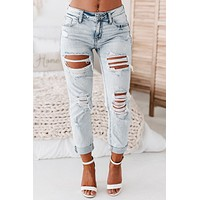 True To Me Mid Rise Distressed Girlfriend Jeans (Light Wash)