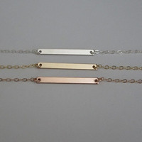 Delicate Bar Necklace. Skinny Bar Necklace. Dainty Layering Necklace. Sterling Silver. Gold Filled. Rose Gold Bar. Minimalist Bar Necklace.