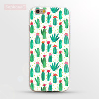 "Ultrathin Soft "" Cactus Collage "" TPU Case for iPhone 5 5s SE 6 6s 6 Plus Phone Case/Cover"