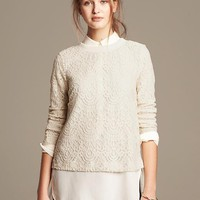 Banana Republic Lace Pullover Size XL - Country beige