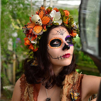 Hawkmoth Harvest Day of the Dead Crown - Dia de los Muertos Whimsical Fall Wisteria Flowers Monarch Butterfly Sugarskull Headdress Fascintor