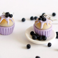 Miniature food - Purple earrings cupcake- cranberries kawaii Polymer clay sweet dessert hoop