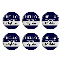 Dylan Hello My Name Is Plastic Resin Button Set of 6
