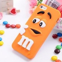 FiveBox Lovely Cartoon Mouth-open M & M's Chocolate Candies Style Fragrant Soft Silicone Case Cover Compatible for Iphone 5 5g 5s(orange)