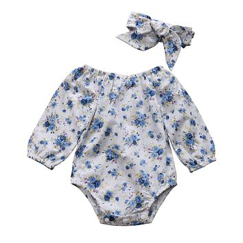 Baby Clothing born Kid Baby Girls Boys Floral Long Sleeve Romper Jumpsuit +Headband Outfit Set