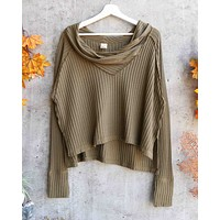 Free People - Wildcat Relax Dolman Cowl Neck Thermal Top in Moss/Military Green
