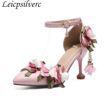 New Nude shoes women fairy shoes summer sandals flowers pearl sweet princess high heel shoes Lolita shoes