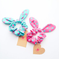 Happy Cute Bunny Bow Hair Scrunchie pop dot :) Love Collections by love factory nyc