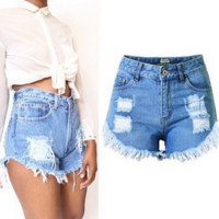 All-match Fashion Casual Women Irregular Worn Ripped Short Jeans Hot Pants