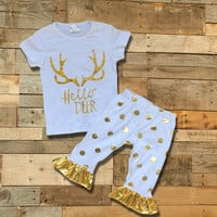 """Hello Deer"" Gold Dot Outfit"